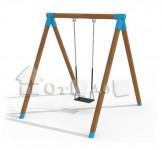 Качели одинарные на круглых столбах (без сиденья)
